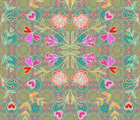 Wildflowers bohemian style fabric by designed_by_debby on Spoonflower - custom fabric