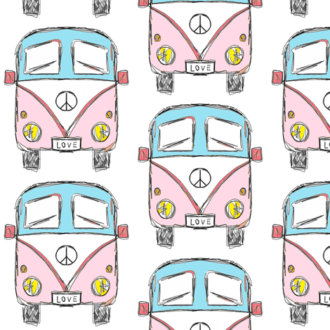 camper pink turquoise fabric by miamea on Spoonflower - custom fabric