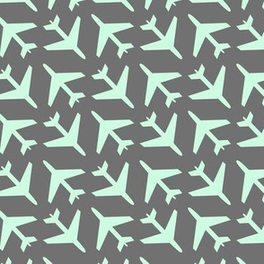 Mint Airplanes on Gray