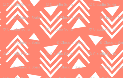 Chevrons & Triangles - Coral