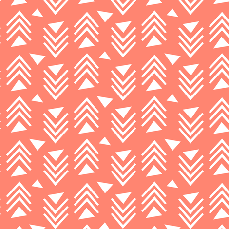 Chevrons & Triangles - Coral fabric by kimsa on Spoonflower - custom fabric