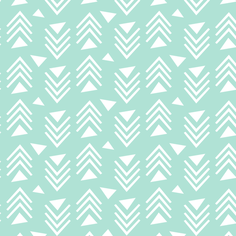 Chevrons & Triangles - Mint fabric by kimsa on Spoonflower - custom fabric