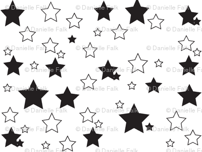 Starry sky in black and white