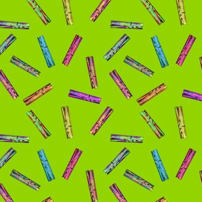 CLOTHESPINS SCATTERED  lime Green