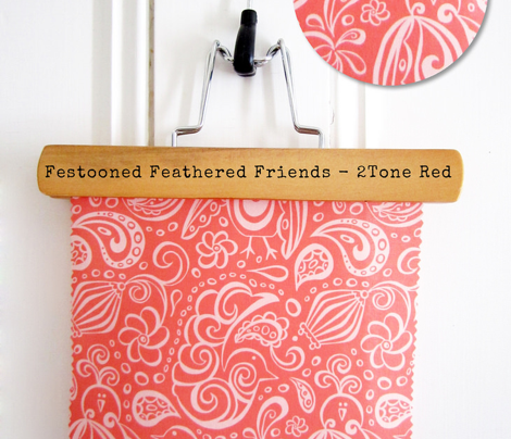 Festooned Feathered Friends - Bird Paisley Red & Pink