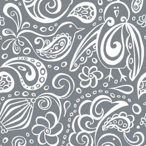 Festooned Feathered Friends - Bird Paisley Grey