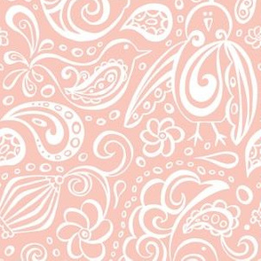 Festooned Feathered Friends - Bird Paisley Pink