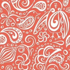 Festooned Feathered Friends - Bird Paisley Red