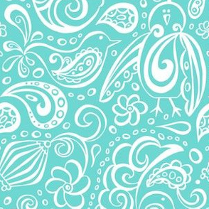Festooned Feathered Friends - Bird Paisley Aqua