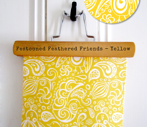 Festooned Feathered Friends - Bird Paisley Yellow