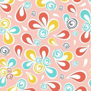 Mod Swoop - Pink Paisley
