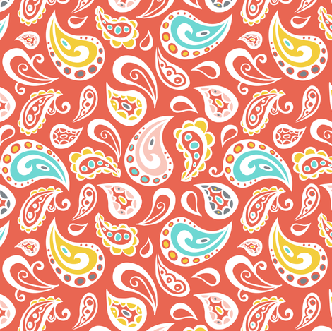 Plumes & Paisleys - Red fabric by heatherdutton on Spoonflower - custom fabric
