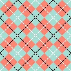 Mint & Coral Argyle Stitch