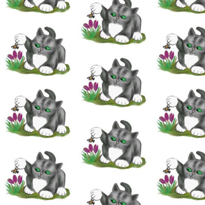 Bee_Finds_a_Crocus__and_Grey_Kitten_-_Spoonflower