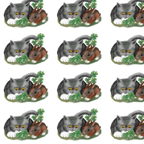 bunny_and_kitten_find_four_leaf_clover_-_Spoonflower