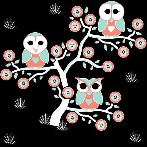 3 owls on black fabric by squeakyangel on Spoonflower - custom fabric