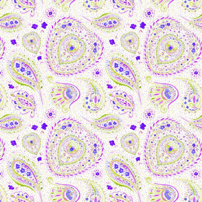 Watercolor Paisley Purple Small Scale