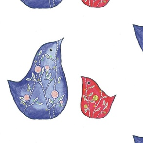 blue and red birds