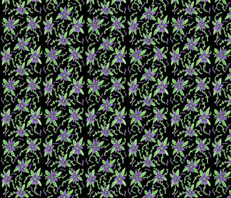 Wisteria on black fabric by inniv8z_oz on Spoonflower - custom fabric