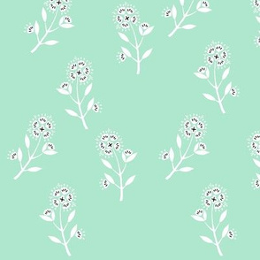 Spring flowers on mint