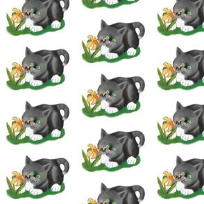 Bee___Daffodil_and_Grey_Kitten_-_Spoonflower