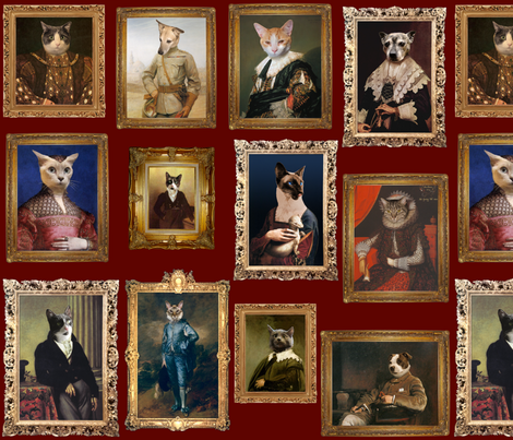 Pet Portrait Gallery - Large - Dark Red fabric by jenithea on Spoonflower - custom fabric