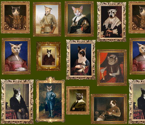 Pet Portrait Gallery - Large - Moss fabric by jenithea on Spoonflower - custom fabric