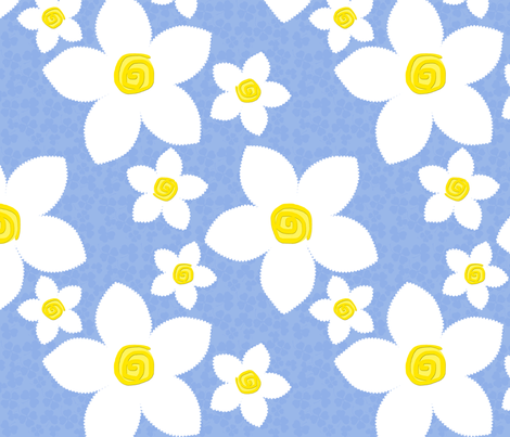 Happy Flowers Applique Blue fabric by bags29 on Spoonflower - custom fabric