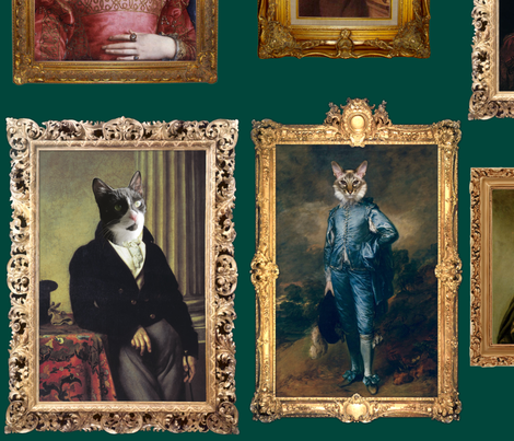 Pet Portrait Gallery - Large - Teal fabric by jenithea on Spoonflower - custom fabric