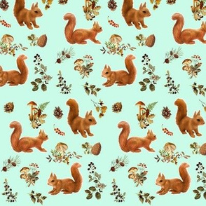 Red Squirrels Scattered on Mint