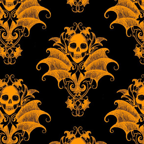 Skull and Wings Damask