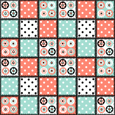 Patchwork_beads_MINT_PINK_WHITE_BLACK fabric by squeakyangel on Spoonflower - custom fabric