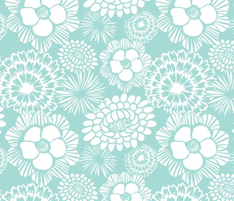 Festibloom - Modern Floral Aqua fabric by heatherdutton on Spoonflower - custom fabric