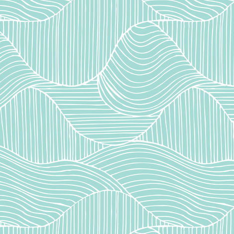 Dunes - Geometric Waves Stripes Aqua fabric by heatherdutton on Spoonflower - custom fabric