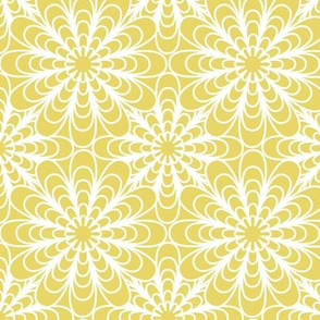 Flora - Geometric Flowers Citron Yellow