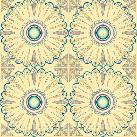 Moroccan sunflower fabric by gretchendiehl on Spoonflower - custom fabric
