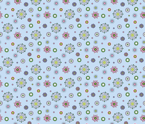 Spring Flowers Blue fabric by vinpauld on Spoonflower - custom fabric