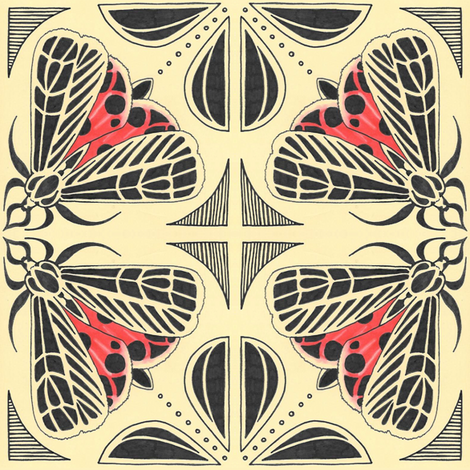 Harnessed tiger moth tile fabric by gretchendiehl on Spoonflower - custom fabric