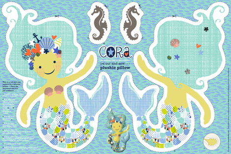CORA the mermaid plushie pillow fabric by cerigwen on Spoonflower - custom fabric