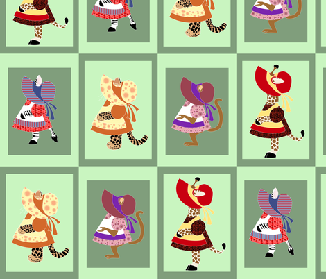 Sunbonnet Zoo 3 fabric by eclectic_house on Spoonflower - custom fabric