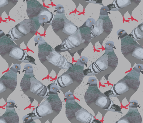 Pigeons fabric by amy_hadden on Spoonflower - custom fabric