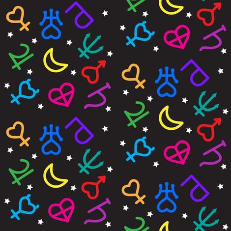 Rainbow Planetary Symbols fabric by magic_circle on Spoonflower - custom fabric