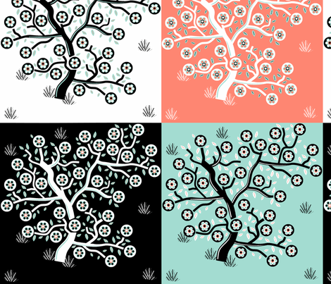 4 blossom trees on one fabric by squeakyangel on Spoonflower - custom fabric