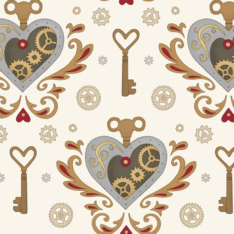 Steampunk Valentine fabric by hazel_fisher_creations on Spoonflower - custom fabric