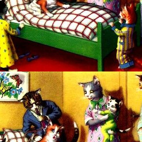 vintage cats kittens family parents children brothers sisters fathers mothers doctors patients bedroom beds pajamas nightgowns puppets medicine