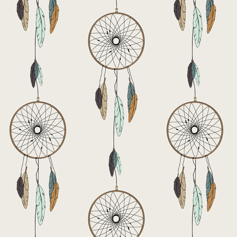 dreamcatcher // mint & teal fabric by littlearrowdesign on Spoonflower - custom fabric