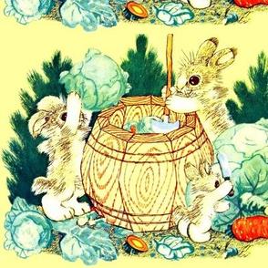 vintage retro kitsch rabbits bunny bunnies coniferous conifers trees bushes barrels spade carrots knife knives