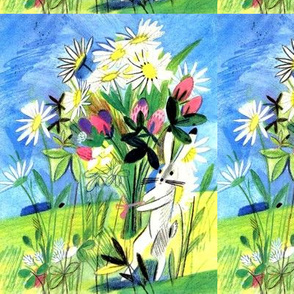 vintage retro kitsch bunny bunnies rabbits bouquets flowers daisy daisies countryside fields