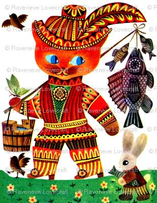vintage retro kitsch tribal folk art birds cats fishes bunny bunnies rabbits flowers buckets butterfly butterflies traveling fisherman fishermen