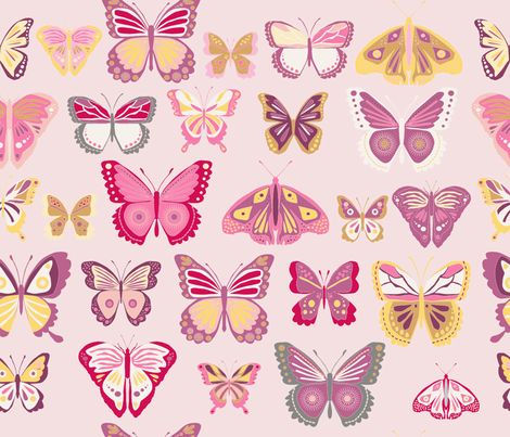 fly_buterfly_rose_L fabric by nadja_petremand on Spoonflower - custom fabric